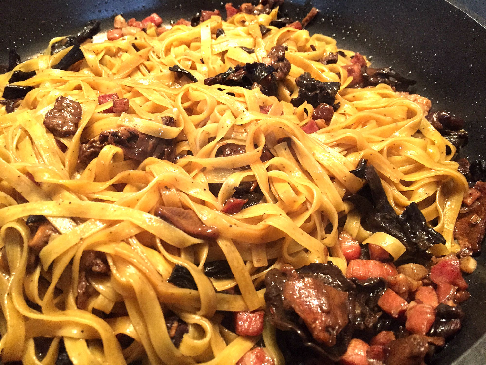 ... pancetta – Truffle flavoured fettuccine with mushrooms and pancetta